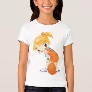 chica de la bola de la cesta camiseta