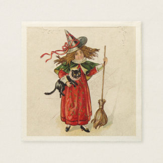 Chica de la bruja de Halloween del vintage pequeño Servilleta De Papel
