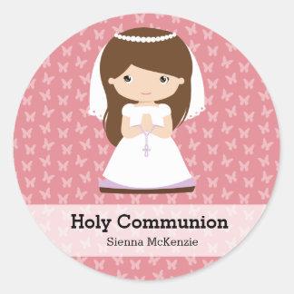 Chica de la comunión santa * elija su color de pegatina redonda