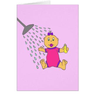 Chica de la ducha de bebé felicitación