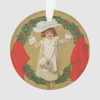 Chica de la guirnalda del navidad del vintage