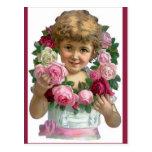 Chica de la guirnalda del rosa del Victorian