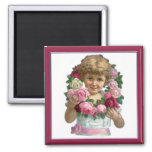 Chica de la guirnalda del rosa del Victorian Imán De Frigorifico