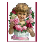 Chica de la guirnalda del rosa del Victorian Postales