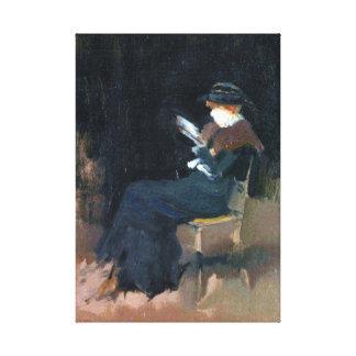 Chica de la marmota de James McNeill en la lectura Impresión En Lienzo