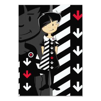 Chica de la MOD de los años 60 en la tarjeta retra Invitación 8,9 X 12,7 Cm