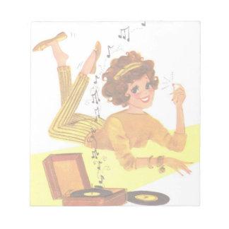 chica de la música de los años 60 bloc de papel