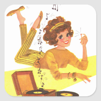 chica de la música de los años 60 pegatina cuadrada