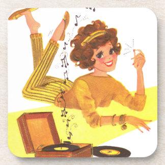 chica de la música de los años 60 posavaso