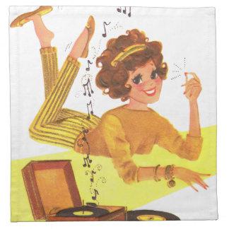 chica de la música de los años 60 servilletas