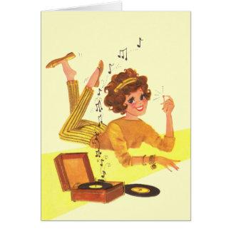chica de la música de los años 60 tarjeta pequeña