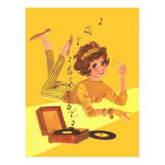 chica de la música de los años 60 postal