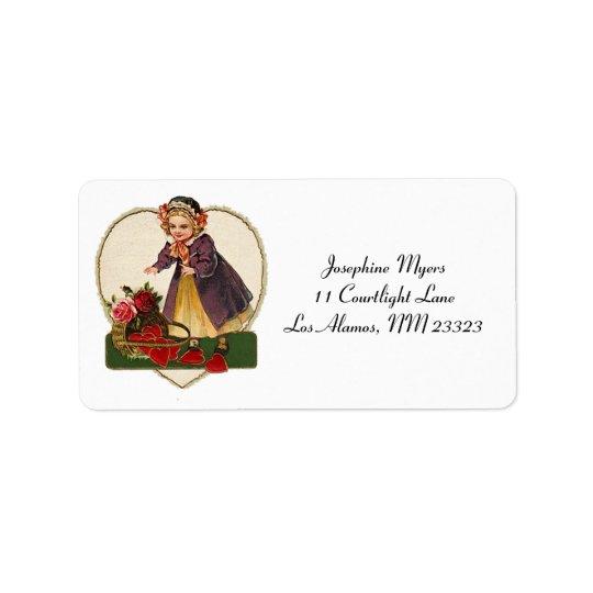 Chica de la tarjeta del día de San Valentín del Etiquetas De Dirección