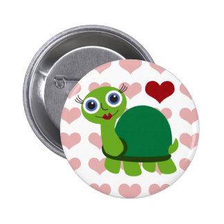 Chica de la tortuga chapa redonda de 5 cm
