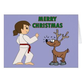 Chica de los artes marciales y sus tarjetas de