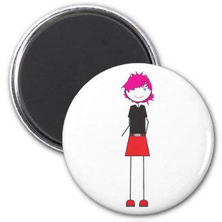Chica de Punker Imán Redondo 5 Cm