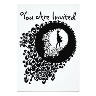 Chica decorativo blanco y negro de la silueta invitación 12,7 x 17,8 cm