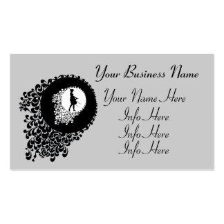 Chica decorativo blanco y negro de la silueta tarjetas de visita