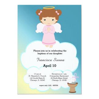 Chica del ángel del bautismo invitación 12,7 x 17,8 cm