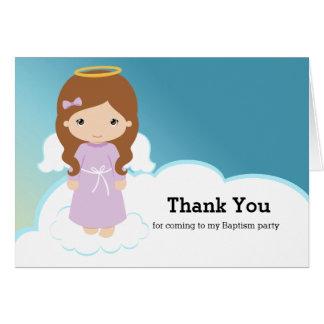 Chica del ángel del bautismo tarjeta de felicitación