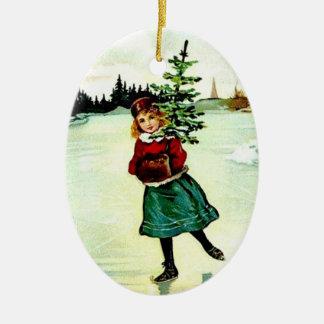 Chica del árbol de navidad del Victorian Adorno De Cerámica