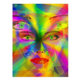 Chica del arco iris postal