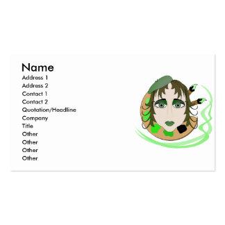 Chica del artista en verde tarjetas de visita