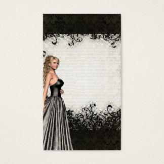 Chica del baile de fin de curso en un vestido tarjeta de visita