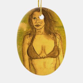 chica del bañador adorno ovalado de cerámica