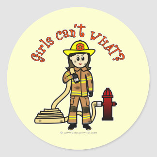 Chica del bombero etiquetas redondas