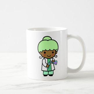Chica del científico taza de café