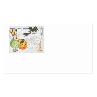 Chica del cuervo del fantasma de la calabaza de la tarjetas de visita