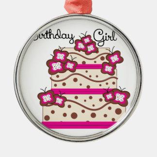 Chica del cumpleaños adorno navideño redondo de metal