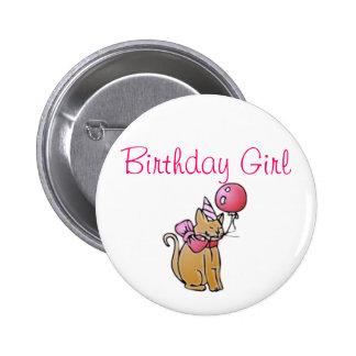 Chica del cumpleaños chapa redonda 5 cm
