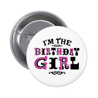 Chica del cumpleaños chapa redonda de 5 cm