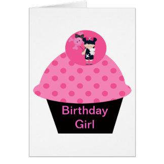 Chica del cumpleaños de la magdalena del gótico de tarjeta de felicitación