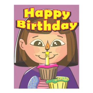 Chica del cumpleaños de la magdalena folleto 21,6 x 28 cm