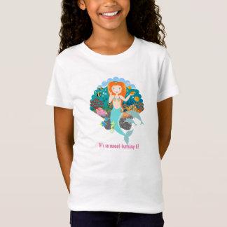 Chica del cumpleaños de la sirena camiseta