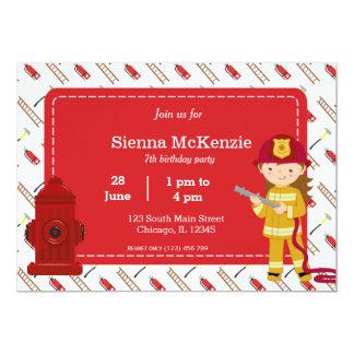 Chica del cumpleaños del bombero invitación