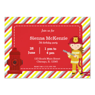 Chica del cumpleaños del bombero invitacion personal