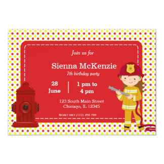Chica del cumpleaños del bombero invitación 12,7 x 17,8 cm