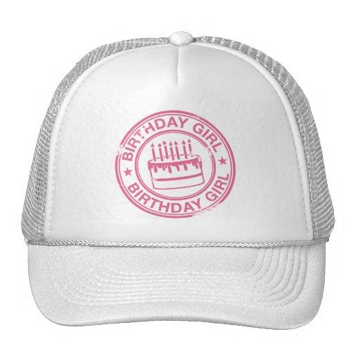 Chica del cumpleaños - efecto rosado del sello de  gorras de camionero