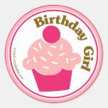Chica del cumpleaños etiqueta