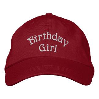Chica del cumpleaños lindo gorros bordados