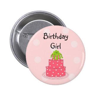 Chica del cumpleaños - torta rosada pins
