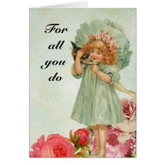 Chica del de agradecimiento del vintage tarjeta de felicitación