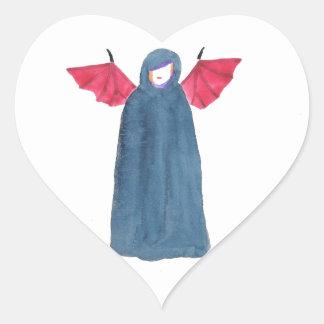 Chica del demonio pegatina en forma de corazón