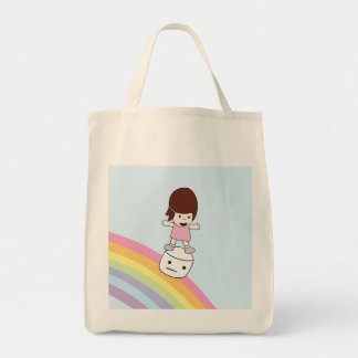 Chica del dibujo animado en la bolsa de asas de la
