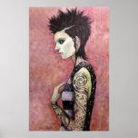 Chica del dragón - arte original de Dori Hartley