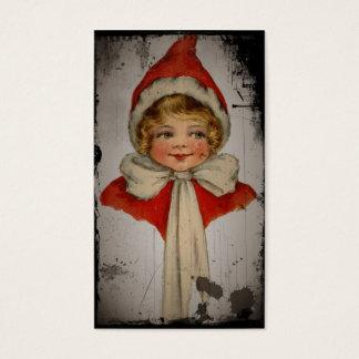 Chica del duende en un cabo rojo tarjeta de visita